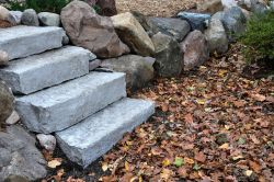 Lannon stone steps within retaining wall