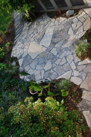 Lannon stone, patio, pathway and garden