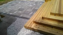 Patio, cedar deck, New York white marble stone, Whitefish Bay WI