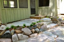 Chilton patio, Wisconsin fieldstone, sedge plantings