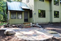 Chilton stone patio, and Wisconsin fieldstone boulders