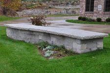 Curved Dry Stack free standing Limestone wall Delafield WI  2