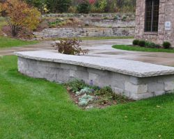 Curved Dry Stack free standing Limestone wall Delafield WI  3
