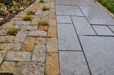 Rustic Gold Patterned Walkway Lannon Stone Cobble Accent with Sedge plant pockets Whitefish Bay WI