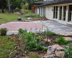 Two tone Lannon Stone Patio with Native plant Installation River Hills WI