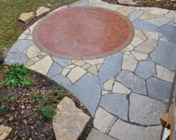 Lannon stone, clay brick paver, irregular natural patio