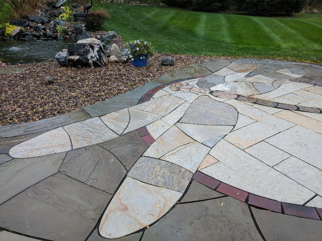 Delafield WI Dragonfly Inlay Landscape Art Clay Paver Stained Glass Natural Stone Water Feature Backdrop