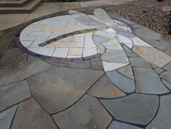 Delafield WI Dragonfly Stained Glass Bluestone Irregular Chilton Stone Rustic Gold Patterened Flagstone Quartzite Flagstone