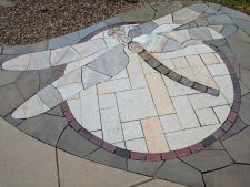 Delafield WI Dragonfly Stained Glass Bluestone Irregular Chilton Stone Rustic Gold Patterened Flagstone Quartzite Flagstone 2