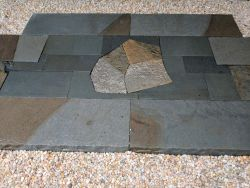 Full Color Patterned Bluestone Pad Quartz Flagstone Stepper Inlay Modern Japanese Garden
