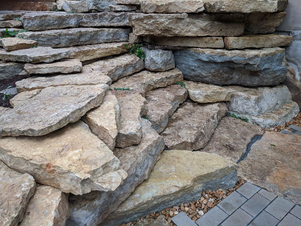 Mequon WI Natural Staircase Outcropping Walls Plant Pockets