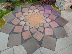 Wisconsin Lotus Flower Sacred Geometry Patio Inlay Natural Stone