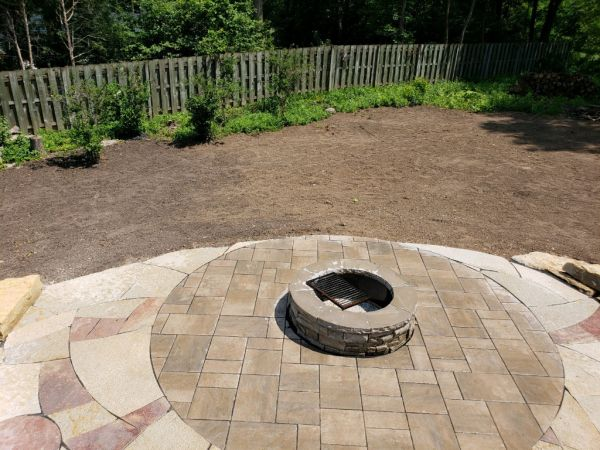 Finished Grade  Patio   Fire Pit