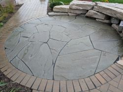 Front Walk Unilock Holland Premier Herringbone Outcropping Seat Wall  New York Bluestone Courtyard