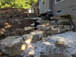 Lemke Stone Outcropping Rain Garden Terraced