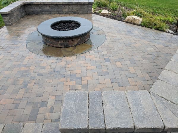 Unilock Brussels Dimensional Sunset Firepit Kit Seat Walls Bluestone Accents