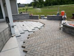 Upper Terrace Unilock Tumbled Bluestone In Progress