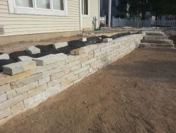 Snapped Limestone Wall Natural Outcropping Steps Grafton Wisconsin In Progress Landscaping